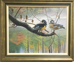 Wildlife Realistic Landscape Painting of Wood Ducks by Michael Budden