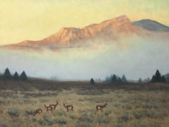 Antelope Overlook, Yellowstone, Contemporary Realistic Wildlife Painting