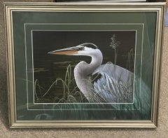 Great Blue Heron, Contemporary Wildlife Print with Remarque d Hand Painted Mat