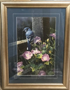 Blue Jay Floral,  Contemporary Wildlife print with Remarque d hand painted mat