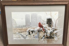 Winter Cardinal, Contemporary Wildlife Art Print with Remarque hand painted mat