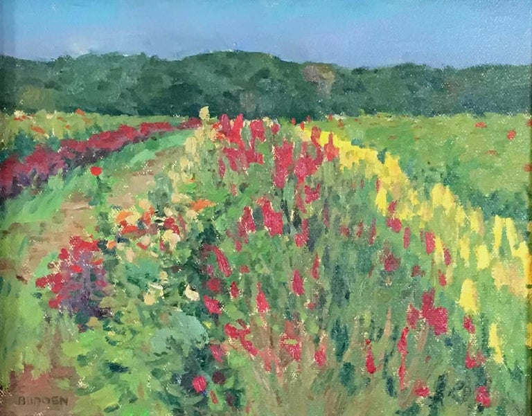 Summer Fields I is an oil painting on canvas that showcases the beautiful light of a summer day shinning on a beautiful field of flowers. This painting was painted en plein air on location in an Impressionistic style and is being sold unframed. Van