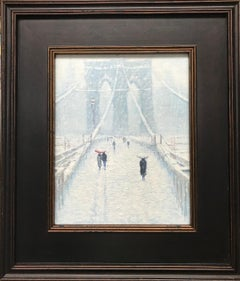 Winter Brooklyn Bridge, Contemporary Impressionistic Landscape Oil Painting NYC