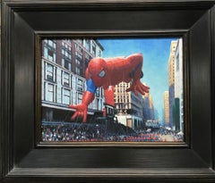 Macy's Parade, Superman, Contemporary  Landscape Oil Painting of New York City