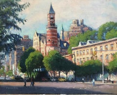 New York City Impressionist Oil Painting 6th Ave Jefferson Market Michael Budden