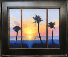 Ocean Beach Southern Sunset Seascape Tryptich Oil Painting by Michael Budden