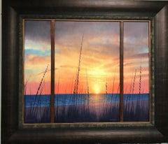 Ocean Beach Triptych Seascape Oil Painting by Michael Budden Coastal Sunrise