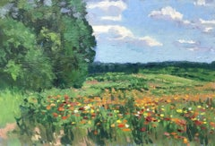 Floral Landscape Flower Fields IV Impressionistic Oil Painting by Michael Budden