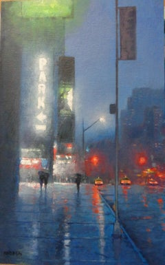 Wicked Evening II, Contemporary  Landscape Oil Painting of New York City