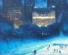Evening In The Park, Plaza Hotel, Contemporary Oil Painting of New York City