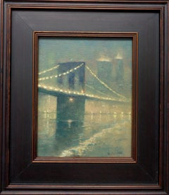 Foggy Evening Brooklyn Bridge, Contemporary Oil Painting of New York City