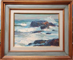 Emile Gruppe Bass Rocks, Period Oil Painting