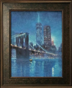 Mystical Evening, Freedom Tower, Contemporary NYC Oil Painting by Michael Budden