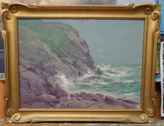 """Rocky Coast""oil painting Milton James Burns, Founding Salmagundi Club Member"