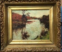 """Crisp Afternoon"", Franklin Dehaven, NA, oil painting, Salmagundi Club Label"