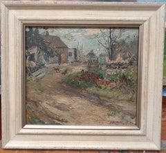 """Farm Yard"" Franklin Dehaven, NA, oil painting, Salmagundi Club Artist"