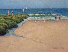 Ocean Beach Seascape Study Oil Painting Children Playing Michael Budden