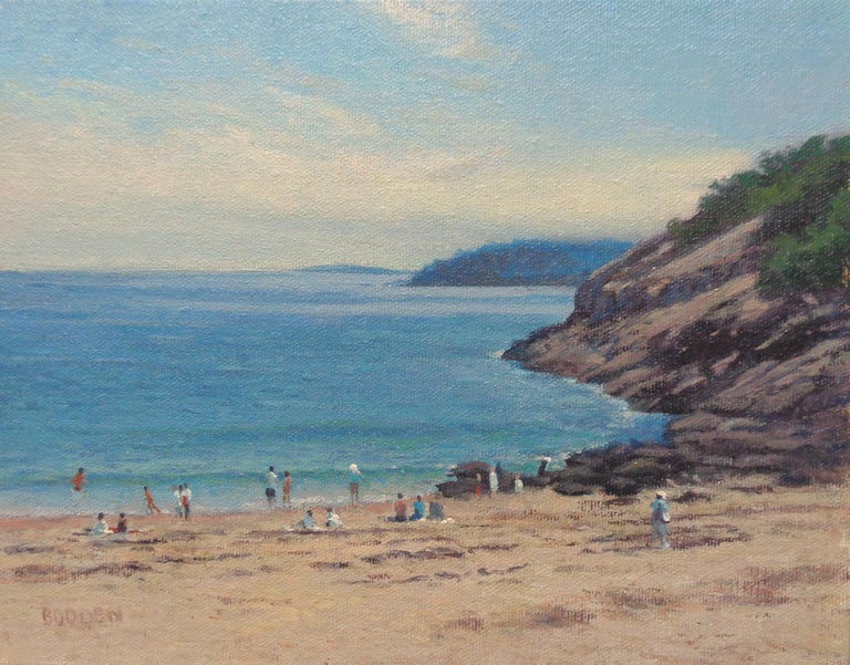 An oil painting on canvas by award winning contemporary artist Michael Budden that showcases a unique composition of  life on the beach on a summer day created in an impressionistic realism style. The painting exudes the very rich qualities of