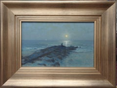 Moonlight Impressionistic Beach Ocean Seascape Painting by Michael Budden