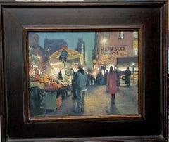 New York City Nocturne Oil Painting Street Vendor Michael Budden