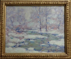 Winter Whispers Landscape Oil Painting by John W Bentley American Impressionist
