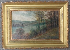 American Artist Autumn Lake Oil Painting Rapheal Sensman NJ PA