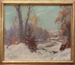 American Impressionist Artist Karl Rudolph Krafft oil painting Winter Scene