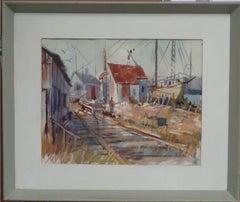 American Artist Carlton Plummer Watercolor Salmagundi Club label Maine Boatyard