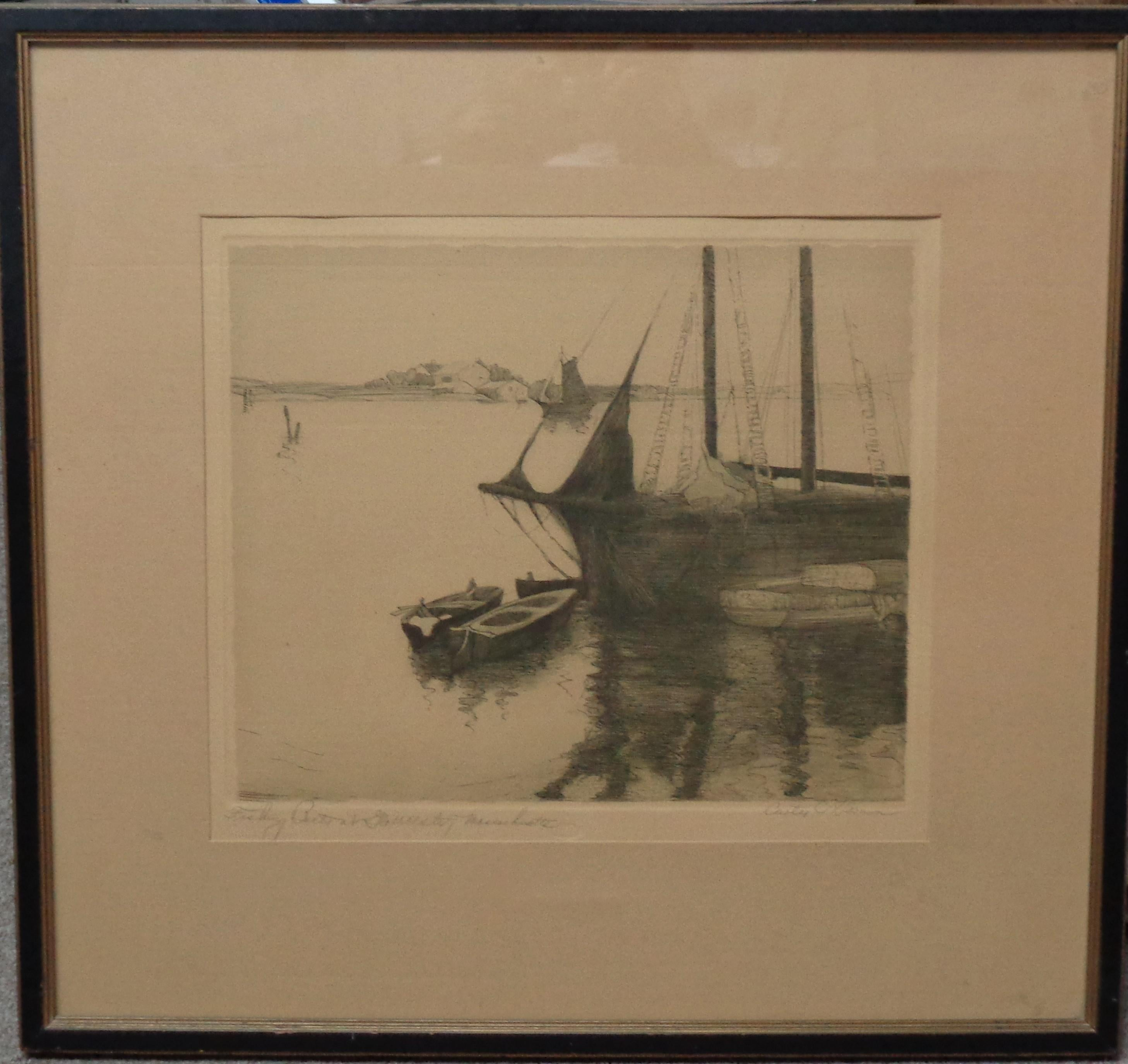 Etching by Curtis C Harmon Fishing Boats at Gloucester Mass
