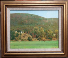 Impressionistic Vermont Oil Painting by Louis DeDonato Salmagundi Label