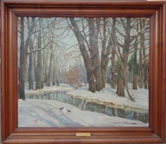 Russian American Impressionist Constantine  Westchiloff Winter Oil Painting Snow