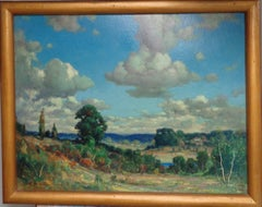 Landscape Oil Painting on Panel by Frederick M Lamb of Sky & Clouds