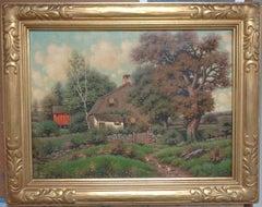 Oil painting on Canvas American Artist George W Drew 1875 - 1968 Cottage Scene