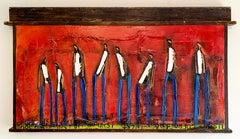 "William DeBilzan ""Red Sea of Men"" (2007), original mixed media on canvas"