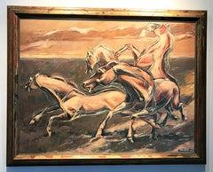 "'Wild Horses"" by Virgil Salantiu, original oil on board"