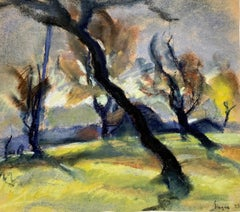 "Dési Huber István ""Contorted Trees"", original pastel on paper"