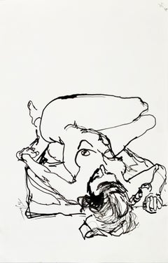 "John Tuska ""Nude Study #7"", original ink wash on paper"