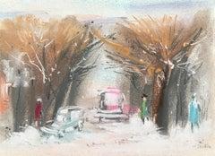 """William Jacobs """"Winter Scene"""", original pastel on paper"""