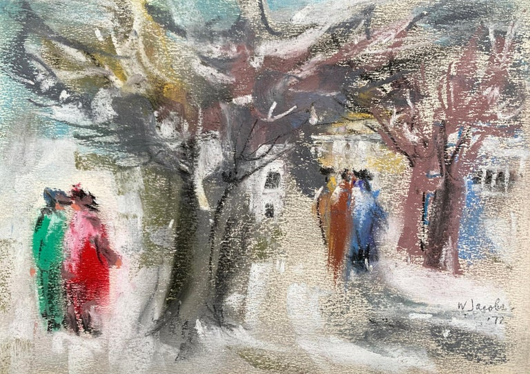 """William Jacobs """"A Stroll in the Park"""", original pastel on paper - Art by William Jacobs"""