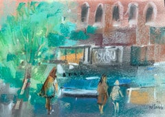 "William Jacobs ""Urban Scene"", original pastel on paper"