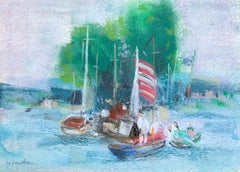 "William Jacobs ""Small Harbor"", original pastel on paper"