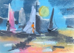 "William Jacobs ""Windsurfing at Sunset"", original pastel on paper"