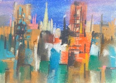 "William Jacobs ""Chicago Skyline II"", original pastel on paper"