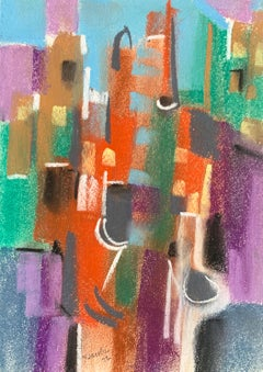 "William Jacobs ""Chicago Skyline III"", original pastel on paper"