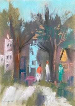 "William Jacobs ""Urban Scene II"", original pastel on paper"