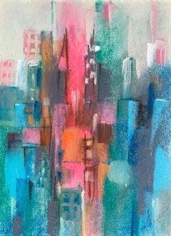 "William Jacobs ""Chicago Skyline IV"", original pastel on paper"