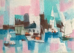"William Jacobs ""Sailboats in Harbor"", original pastel on paper"