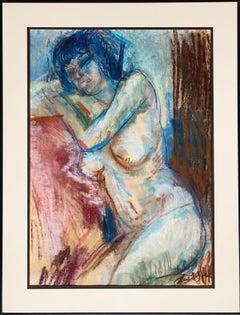 "Zolcsák Sándor ""Sitting Nude"", original pastel on paper"