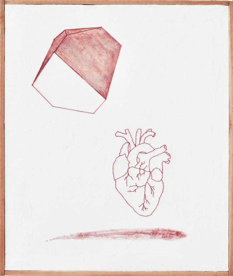 """Camilla Marinoni """"L'amore imperfetto"""", mixed media w/ acrylic and cotton thread - Mixed Media Art by Camilla Marinoni"""
