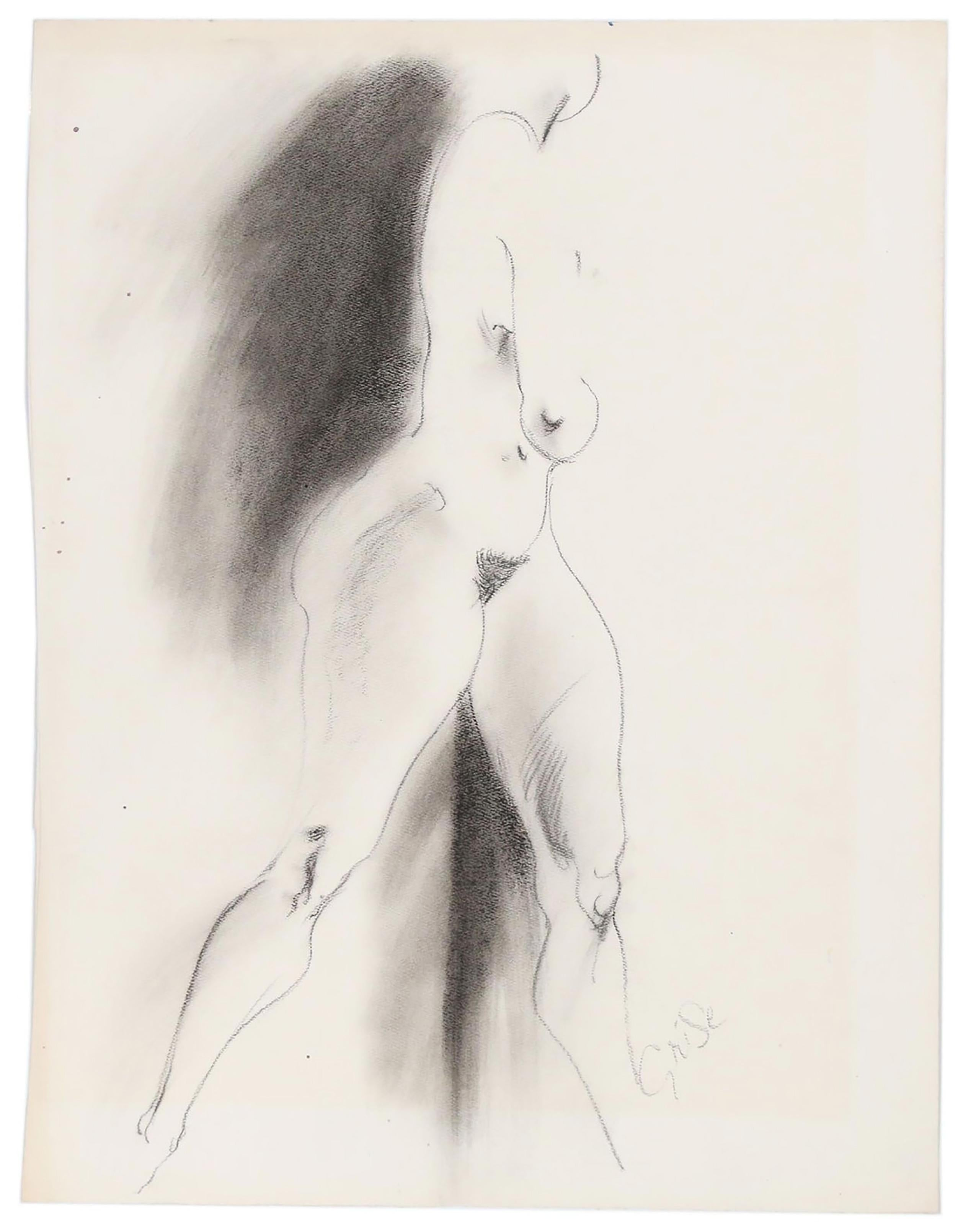 """Hendrik Grise """"Untitled"""", walking nude study of charcoal on paper"""